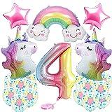 Einhorn Luftballons 4 Jahr Geburtstagsdeko Mädchen mit 3D Einhorn Folienballon, Riesen Folienballon 4, Rosa Stern Folienballon Latex-Luftballons Partydekoration für Mädchen Geburtstags