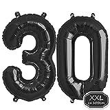 Folienballon Zahl in Schwarz - XXL 40'/100cm Riesenzahl Ballon - Folienballons für Luft oder Helium als Geburtstag, Hochzeit , Jubiläum oder Abschluss Geschenk, Party Dekoration (Schwarz[ 30 ])