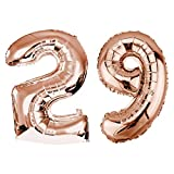 DekoRex Folienballon Rosegold 100cm Luftballon Geburtstag Feier Hochzeit (Zahl: 29)