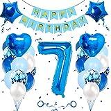 Geburtstagsdeko Jungen 7 Jahre, Luftballon 7. Geburtstag Junge Deko, Folienballon 7, Banydoll deko 7. geburtstag junge, Riesen Folienballon 7 Blau, Geburtstagsdeko 7 Jahre Junge Blau