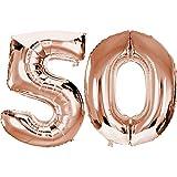 DekoRex Folienballon Rosegold 100cm Luftballon Geburtstag Feier Hochzeit (Zahl: 50)