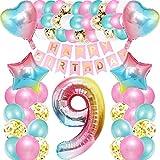 iWheat Luftballon 9. Geburtstag Rosa, Deko 9. Geburtstag Mädchen, Geburtstagsdeko 9 Jahre Mädchen, Riesen Folienballon Zahl 9, Happy Birthday Banner Bunt Folienballon Zahl 9 für Kinder Mädchen
