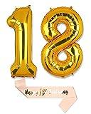 40 Zoll Gold Folienballon, Helium ballon, Zahlenballon und 18. Geburtstag Schärpe, Geeignet für Geburtstage, Überraschungsparties, Hochzeiten, Jubiläen, Einstände, Abschlüsse und Feste (GOLD 18)