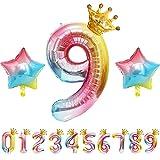 Geburtstags Luftballons 9 Zahlen Große Anzahl, Helium Ballons mit Star Crown für Helium balloon Gas als Happy Birthday Deko Geburtstag Folienballon Riesenzahl Zahlenluftballons