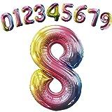 HONZUEN 8 Zahlen XXL Luftballon Geburtstag, 100cm 8 Zahl Ballon Folienballon mit Aufhängeloch für Luft&Helium, Wiederverwendbar Riesen Zahlenballon für Geburtstag Hochzeit Jubiläum Party Dekoration