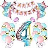 Amycute Luftballon 4. Geburtstag Rosa, Geburtstagsdeko 4 Jahr Mädchen, Regenbogen Number Folienballon, Riesen Folienballon 4 Rosa, Deko 4 Geburtstag Mädchen, Ballon 4 Deko zum Geburtstag, Banner