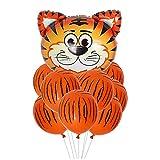 ballonfritz® Tiere Safari Dschungel Ballon 11 tlg. Set - XXL Tiger Kopf Luftballon 55x55x20cm als Geburtstagsgeschenk, Party-Deko oder Überraschung den Kindergeburtstag
