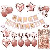 TSHAOUN Geburtstagsdeko Set, Happy Birthday Girlande, Konfetti Ballons, Luftballons, Glitzer Vorhang, Bändern, Herz Stern Folienballon für Partyzubehör (Roségold)