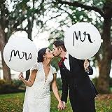 Luftballons Hochzeit, Ballons Hochzeit, 2 Stück 36' MR & MRS Riesen Luftballons Latex Weiß Ballons Hochzeit Deko, für Heiratsantrag Hochzeit Fest Party Dekoration