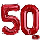 FUNXGO Folienballon Zahl in Rot- XXL 40'/100cm Riesenzahl 100cm Ballon - Folienballons für Luft oder Helium als Geburtstag, Hochzeit , Jubiläum oder Abschluss Geschenk, Party Dekoration (Rot [ 50 ])
