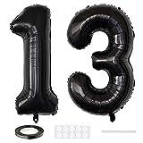 Xihuimay 40' Nummer 13 Folienballon Zahl 13 Luftballon Ziffer 13. Geburtstag Ballon 100cm Riesen Ballons Luft oder Helium Digitaler Ballon für Mädchen Junge Jubiläum Feierliche Anlässe, Schwarz XXL