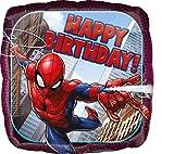 Amscan 3466401 - Standard Folienballon Spider-Man Happy Birthday, Quadratisch, Größe 46 cm, Heliumballon