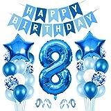 Luftballon 8. Geburtstag Blau, Ballon 8 Deko zum Geburtstag, Happy Birthday Folienballon, Riesen Folienballon Zahl 8, Ballon 8 Deko zum Geburtstag, Geburtstagsdeko Jungen 8 Jahr