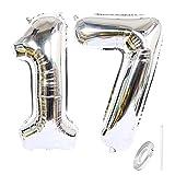 Liitata Zahl 17 Luftballons Silber Nummer 17 Luftballon XXXL Riesen Folienballon 40 zoll Heliumballon für Mädchen Junge Geburtstag Hochzeit Jubiläum Abschlussball Party Dekoration