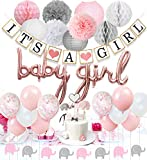 JOYMEMO Babyparty-Dekorationen für Mädchen Rosa und Weiß, Baby-Ballons, Elefantengirlande, Konfetti-Ballons, Elefanten-Cake-Topper für Babyparty-Zubehör