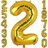 100 CM Groß Gold Zahl 2 Folienballon Luftballon Folien Mylar Riese MäDchen Helium Luftballons Geburtstag Party Deko Lieferungen Baby