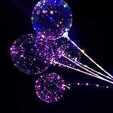 Kakeyi LED Licht Ballons, 5 Stück BoBo Luftballons Transparent Party Ballons, 24 Zoll LED Lichter Luftballons, Perfekt für Valentinstag, Party, Jahrestag Feierlichkeiten, Hochzeit, Urlaub Dekoration