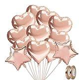 Nasharia Herz Folienballon Rosegold 20 Stück Herz Helium Luftballons Herzluftballons Heliumballon Folienballon Hochzeit Folienluftballon Geeignet für Geburtstag, Brautdusche, Party Dekoration
