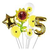 JYDZSW Ballon 7 Teile/los Party Ballons Sonnenblume Geburtstag Dekoration Zahl Ballon Kinder Geburtstagsfeier Baby Dusche Dekor Globos (Color : 5)