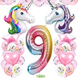 TOPHOPE Luftballon 9. Einhorn Geburtstagsdeko für Mädchen Happy Birthday Folienballon Luftballon Zahlen Geburtstagsdeko Mädchen 9 Jahr Riesen Einhorn Folienballon Zahl 9 Ballon 9 Deko zum Einhorn