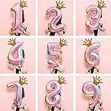 Cenlang 32 Zoll Zahlen Luftballon Rosa mit Krone, Riesige Folienballon, Zahl Luftballon Deco, Geburtstag, Bunt Folienzahlen Ballons, Zahlenballon für Party, Birthday Dekoration
