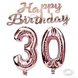 SNOWZAN Luftballon 30. Geburtstag Rosegold Mädchen Zahl 30 Riesen Folienballon Helium Nummer 30 Luftballon Große Zahlen 30 Jahre XXL 30. Happy Birthday Banner Girlande 32 Zoll Riese Zahl 30 für Party
