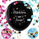 Balloono Gender Reveal Balloon (91cm) ● Girl or Boy Party Ballon für Geschlecht Verkünden Feiern ● 1x Baby Ballon mit Konfetti, Nadel, Fahnen und Schleife