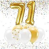 Feste Feiern Party-Deko zum 71. Geburtstag Gold Metallic Zahl 71 Set 86cm Zahlenballon Luftballon Folienballon 71ter Goldene Sterne weiß Glanz 21 Teile Dekoration Happy Birthday Jubiläum