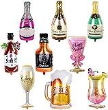 BESTZY Folienballon Weinflasche 9PCS Riesen Folienballons Sektflasche Deko Set Inflated Aluminiumfolie Ballon Weinflasche Weinglas Ballons für Geburtstag Urlaub Hochzeit Party Dekoration