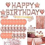 Partyzubehör, Buchstabenbanner, Geburtstagsschärpe, romantische Dekoration, Happy Birthday, Konfetti-Ballon-Set, Aluminiumfolie, Rotgold