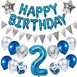 Ouceanwin 2. Geburtstag Dekoration Blau Kindergeburtstag Partyset, Riesen Luftballons Zahl 2, Folienballons Happy Birthday Banner, Wimpelkette Banner Silber, 2 Jahre Geburtstagsdeko für Junge