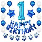 JKJF 1. Geburtstag Dekoration Blau Kinder Geburtstag Deko Set Riesen Zahl 1 Folienballon Happy Birthday Banner Ballons Konfetti Luftballons Deko für Mädchen Jungen Geburtstag Party