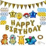 colmanda Luftballons Geburtstag, 35 Stück Luftballons Folienballons Ballons Helium Luftballons Buchstabenballons mit Bändern und Transparenten Aufklebern für Geburtstag Dekoration