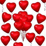 50 Stück Rot Liebe Herzballons Rot Latex Herz Luftballons für Valentinstag Hochzeitstag Verlobung Geburtstag Garden Company Feier Abschlussfeier Abschlussball Party Romantische Dekoration