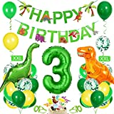 Bluelves Luftballon 3. Geburtstag Grün, Dino 3 Deko Kindergeburtstag, Geburtstag 3 Jahr Junge, Dinosaurier Kindergeburtstag 3, Riesen Folienballon Zahl 3, Happy Birthday Girlande Ballon 3 Deko