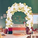 113 Pcs Geburtstag Dekoration Weiß Gold, Happy Birthday Girlande Ballons Partyzubehör Sets mit Happy Birthday Ballons Konfetti Luftballons Folienballons für Geburtstag, Hochzeit, Partys Dekorationen