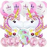 MOOKLIN - 29 Stück Einhorn Party Dekorationen Set für Mädche Junge, 20pcs Latex Ballons, 2pcs 110cm Einhorn Folienballons, 2pcs Runde Folienballons für Hochzeit Frauen Kinder Baby Mädchen Party