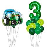 HXLFYM 12 Stücke Traktor Bagger Technik Fahrzeugballon 32 Zoll Zahl Folie Ballon Junge Geburtstag Party Dekorationen Baby Dusche Ball (Color : A3)