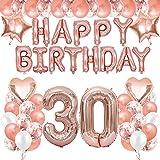 TOPHOPE Luftballon 30. Geburtstag Rosegold Geburtstagsdeko Rosegold Deko Happy Birthday Decorations Girlande Balloon Mädchen 30 Jahr Riesen Folienballon Zahl 30 Balloon 30 Deko zum Geburtstag Rosegold