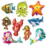 Kaimeilai Meerestiere Fisch Folienballon, 9 Stück Meeres Tier FolienballonMeerestier Ballons Fisch Luftballons für Kinder zum Birthday Decorationsr, Geburtstag, Baby Shower Party