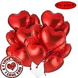 Sunshine smile Herz Folienballon Rot, 20 STK 18 Zoll Luftballons Rot, Herz Helium Luftballons, Folienballon Hochzeit, Folienluftballon, Herz Ballons (Rot)