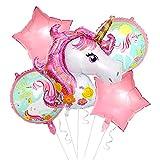 Einhorn Ballons,Hilloly Einhorn Folienballon Set,Einhorn Party Supplies Geburtstagsdeko Einhorn Party Supplies Dekorationen mit Einhorn Ballons, Glücklich Geburtstag Banner für Mädchen Boy Kids(Rosa)