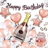 Ulikey Geburtstagsdeko Rosegold Deko, Partydekoration Set, Geburtstag Dekoration Set, Folienballon, Banner, Ballons, Konfetti für Geburtstag, Hochzeit, Jubiläum Party (Rosa)