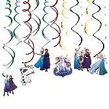 YUESEN Frozen Geburtstag Dekoration Set Princess ELSA Happy Birthday Deko Bunte Spirale Luftballon Konfetti Princess ELSA für jeden Alter 12 PCS