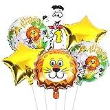 1. Dschungel Geburtstag Party Dekoration, 6 Stück Wild Forest Tier Folienballons Zahl 1 Folienballons Dschungel Tier Kopf Ballons Stern Ballons für Junge Mädchen Baby Dusche Geburtstag Dekoration