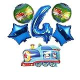 JSJJAUA Ballon 6pcs Löschfahrzeug Folienballon Anzahl Traktor Bulldozer Zug Helium Folienballon for Happy Birthday Party Dekorationen Kinder Spielzeug (Color : Train 4)