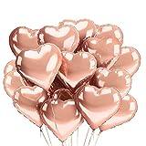 O-Kinee Herz Folienballon 30 pcs Herzballons Hochzeit Herz Rosegold Heliumballons Herzluftballons für Party,Geburtstag,Valentinstag, Hochzeit, Verlobung,Muttertag Dekoration(Roségold)