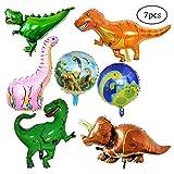 SIMUER 7 Pack Riesen Dinosaurier Folienballon Wiederverwendbare Heliumballons Set Foil Dinosaurier Ballon für Geburtstagsfeier Dekoration Kinder Geschenk Jurassic Welt Birthday Party Supplies