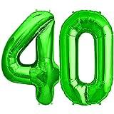 FUNXGO Folienballon Zahl in Grün - XXL / ca.100cm Riesenzahl Ballons - Folienballons für Luft oder Helium als Geburtstag, Hochzeit , Jubiläum oder Abschluss Geschenk, Party Dekoration (Grün [40])
