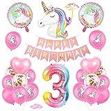 Einhorn 3 Geburtstag Deko, 3. Geburtstag Dekoration, 3 Jahr Geburtstagdeko, 3 Ballon Einhorn Deko, Luftballon 3. Geburtstag Deko, 3 Geburtstag Mädchen, 3 Geburtstag Frau, Deko 3 Geburtstag Mädchen